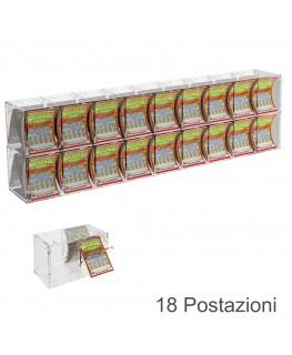 E-385 EGV-D - Espositore Gratta e Vinci da Banco o da Soffitto in Plexiglass Trasparente a 18 Contenitori CON SPORTELLINO