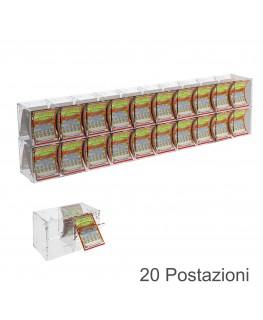 E-385 EGV-E - Espositore Gratta e Vinci da Banco o da Soffitto in Plexiglass Trasparente a 20 Contenitori CON SPORTELLINO