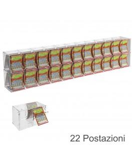 E-385 EGV-F - Espositore Gratta e Vinci da Banco o da Soffitto in Plexiglass Trasparente a 22 Contenitori CON SPORTELLINO