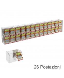 E-385 EGV-H - Espositore Gratta e Vinci da Banco o da Soffitto in Plexiglass Trasparente a 26 Contenitori CON SPORTELLINO
