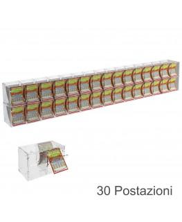 E-385 EGV-L - Espositore Gratta e Vinci da Banco o da Soffitto in Plexiglass Trasparente a 30 Contenitori CON SPORTELLINO