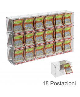 E-386 EGV-A - Espositore Gratta e Vinci da Banco o da Soffitto in Plexiglass Trasparente a 18 Contenitori CON SPORTELLINO