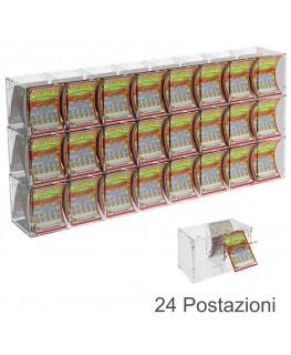 E-386 EGV-C - Espositore Gratta e Vinci da Banco o da Soffitto in Plexiglass Trasparente a 24 Contenitori CON SPORTELLINO