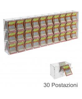 E-386 EGV-E - Espositore Gratta e Vinci da Banco o da Soffitto in Plexiglass Trasparente a 30 Contenitori CON SPORTELLINO