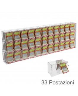E-386 EGV-F - Espositore Gratta e Vinci da Banco o da Soffitto in Plexiglass Trasparente a 33 Contenitori CON SPORTELLINO