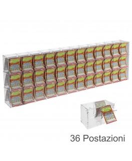E-386 EGV-G - Espositore Gratta e Vinci da Banco o da Soffitto in Plexiglass Trasparente a 36 Contenitori CON SPORTELLINO