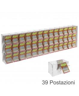 E-386 EGV-H - Espositore Gratta e Vinci da Banco o da Soffitto in Plexiglass Trasparente a 39 Contenitori CON SPORTELLINO