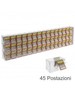E-386 EGV-L - Espositore Gratta e Vinci da Banco o da Soffitto in Plexiglass Trasparente a 45 Contenitori CON SPORTELLINO