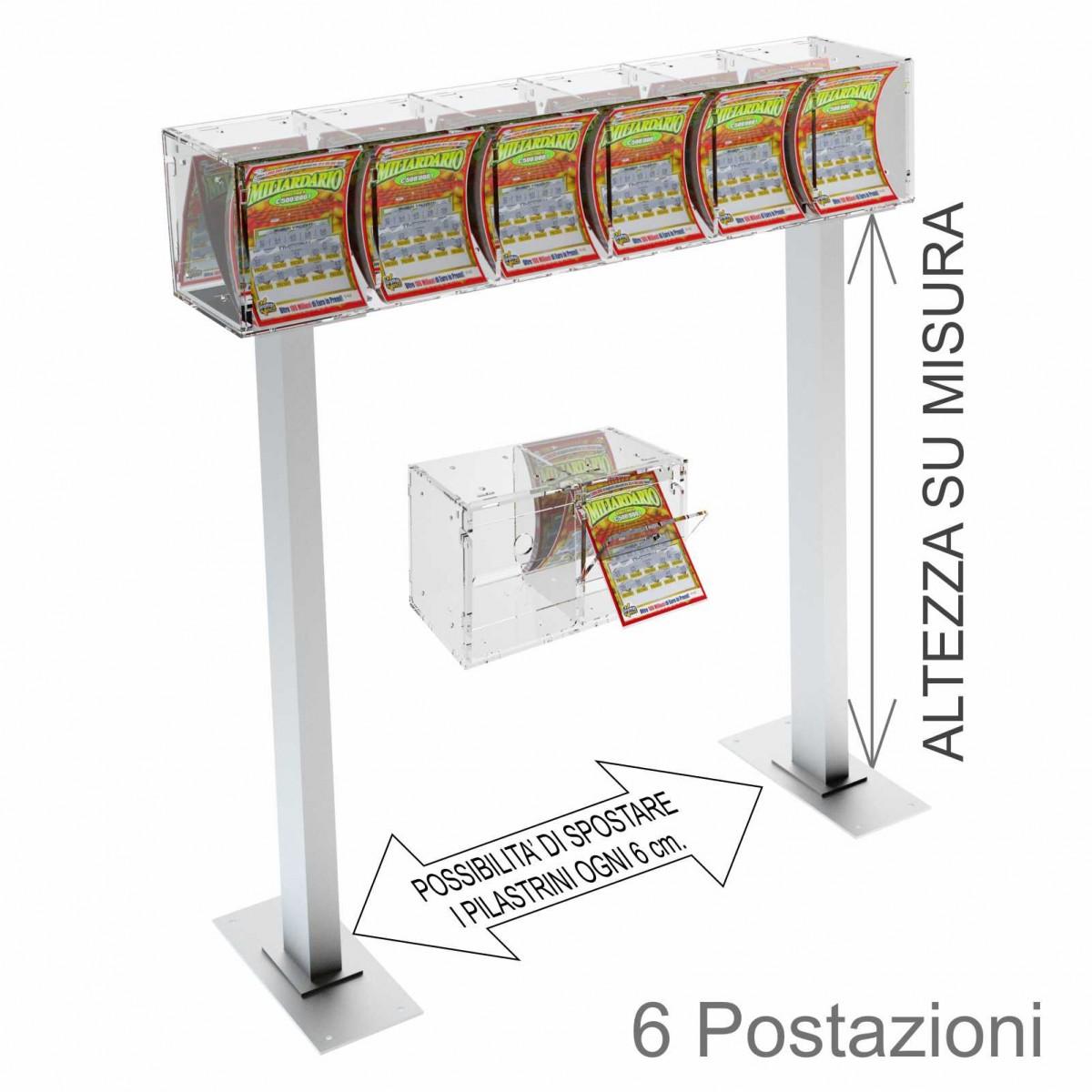 Espositore Gratta e Vinci da Banco o da Soffitto in Plexiglass Trasparente a 6 Contenitori CON SPORT