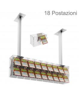 E-391 EGV-D - Espositore gratta e vinci da soffitto in plexiglass trasparente a 18 contenitori munito di sportellino frontale...