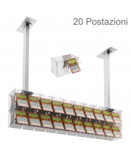E-391 EGV-E - Espositore gratta e vinci da soffitto in plexiglass trasparente a 20 contenitori munito di sportellino frontale...