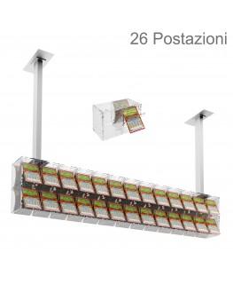E-391 EGV-H - Espositore gratta e vinci da soffitto in plexiglass trasparente a 26 contenitori munito di sportellino frontale...