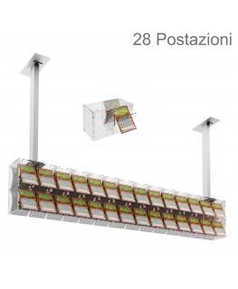 E-391 EGV-I - Espositore gratta e vinci da soffitto in plexiglass trasparente a 28 contenitori munito di sportellino frontale...