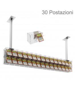 E-391 EGV-L - Espositore gratta e vinci da soffitto in plexiglass trasparente a 30 contenitori munito di sportellino frontale...