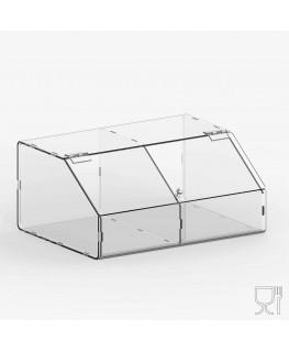 E-720 PLE - Porta legumi in plexiglass trasparente a 2 scomparti con sportello