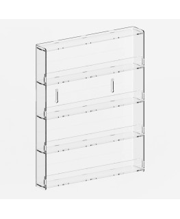 E-722 MAK - Espositore vetrinetta da parete a 4 ripiani in plexiglass trasparente, può contenere fino a 32 smalti