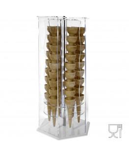 E-119 PCE-A - Porta Coni Gelato girevole in Plexiglass esagonale a 6 colonne