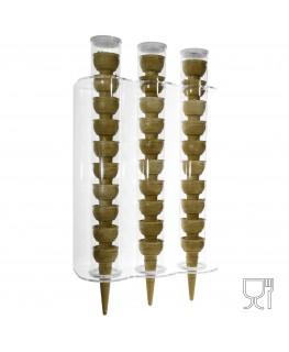 E-118 PC-C - Porta Coni Gelato da Parete in Plexiglass a 3 colonne