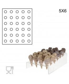E-237 PCN-B - Porta Coni Mignon Inclinato da Banco in Plexiglass a 30 fori