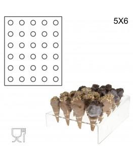 E-238 PCN-B - Porta coni mignon da banco in plexiglass a 30 fori