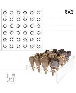 E-238 PCN-C - Porta coni mignon da banco in plexiglass a 36 fori