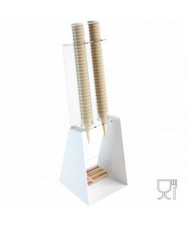 E-519 PCN-A - Porta coni gelato da banco a 2 colonne in plexiglass bianco con porta cucchiaini