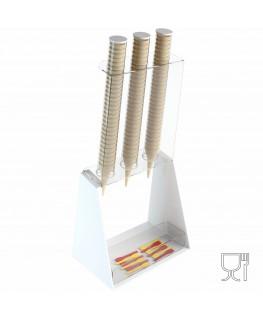 E-519 PCN-B - Porta coni gelato da banco a 3 colonne in plexiglass bianco con porta cucchiaini