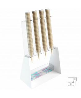 E-519 PCN-C - Porta coni gelato da banco a 4 colonne in plexiglass bianco con porta cucchiaini.