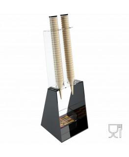 E-520 PCN-A - Porta coni gelato da banco a 2 colonne in plexiglass nero con porta cucchiaini
