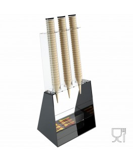 E-520 PCN-B - Porta coni gelato da banco a 3 colonne in plexiglass nero con porta cucchiaini