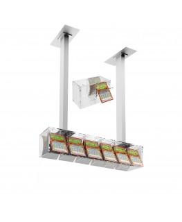 E-390 EGV-A - Espositore gratta e vinci da soffitto in plexiglass trasparente a 6 contenitori munito di sportellino frontale ...