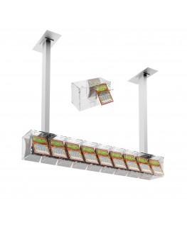 E-390 EGV-D - Espositore gratta e vinci da soffitto in plexiglass trasparente a 9 contenitori munito di sportellino frontale ...