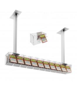 E-390 EGV-E - Espositore gratta e vinci da soffitto in plexiglass trasparente a 10 contenitori munito di sportellino frontale...