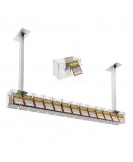 E-390 EGV-H - Espositore gratta e vinci da soffitto in plexiglass trasparente a 13 contenitori munito di sportellino frontale...