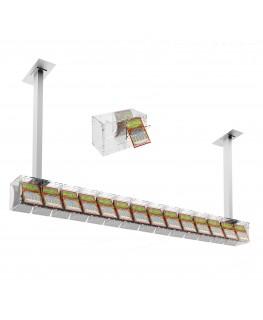 E-390 EGV-I - Espositore gratta e vinci da soffitto in plexiglass trasparente a 14 contenitori munito di sportellino frontale...