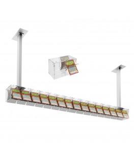 E-390 EGV-L - Espositore gratta e vinci da soffitto in plexiglass trasparente a 15 contenitori munito di sportellino frontale...