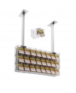 E-392 EGV-C - Espositore gratta e vinci da soffitto in plexiglass trasparente a 24 contenitori munito di sportellino frontale...