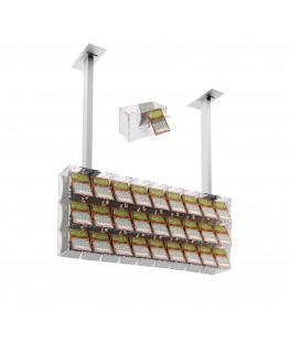 E-392 EGV-D - Espositore gratta e vinci da soffitto in plexiglass trasparente a 27 contenitori munito di sportellino frontale...