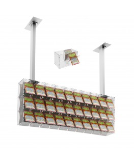 E-392 EGV-E - Espositore gratta e vinci da soffitto in plexiglass trasparente a 30 contenitori munito di sportellino frontale...