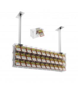 E-392 EGV-F - Espositore gratta e vinci da soffitto in plexiglass trasparente a 33 contenitori munito di sportellino frontale...