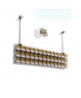 E-392 EGV-H - Espositore gratta e vinci da soffitto in plexiglass trasparente a 39 contenitori munito di sportellino frontale...