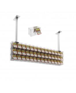 E-392 EGV-I - Espositore gratta e vinci da soffitto in plexiglass trasparente a 42 contenitori munito di sportellino frontale...