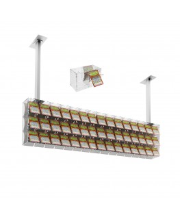 E-392 EGV-L - Espositore gratta e vinci da soffitto in plexiglass trasparente a 45 contenitori munito di sportellino frontale...