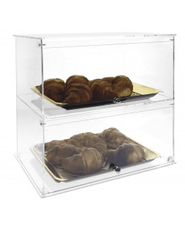 E-007 VB - Vetrina da banco in plexiglass trasparente a 2 scomparti - Misure: 42 x 26 x H40 cm