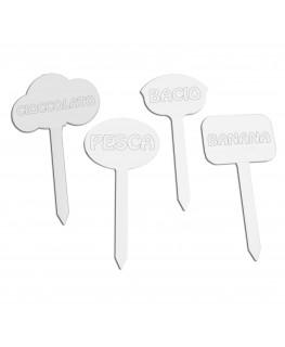E-025 SG - Segna gusti per gelati in plexiglass trasparente - Misure: 10 x H20 cm