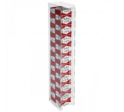 Espositore porta sigarette da parete in plexiglass trasparente per sigarette da 20