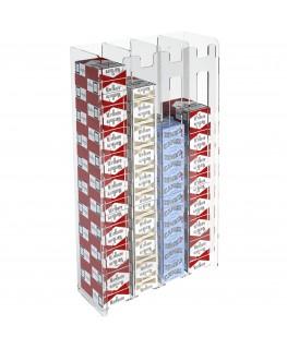 E-236 ESS-D - Espositore porta sigarette da parete in plexiglass trasparente per sigarette da 20 con 4 colonne