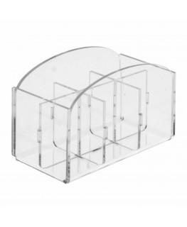 E-228 POB-F - Porta bustine zucchero stick in Plexiglass capacità 6 postazioni - CM(LxPxH): 12.5x7x10