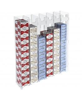 E-236 ESS-F - Espositore porta sigarette da parete in plexiglass trasparente per sigarette da 20 con 6 colonne