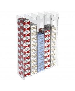 E-236 ESS-E - Espositore porta sigarette da parete in plexiglass trasparente per sigarette da 20 con 5 colonne